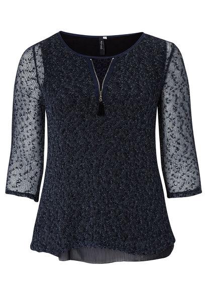 2-in-1 trui met Engels borduurwerk en nettricot - Marineblauw