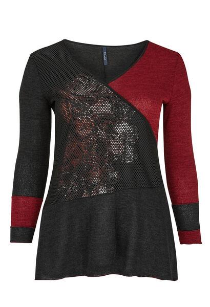 Tuniek van een mix van warm tricot - Zwart