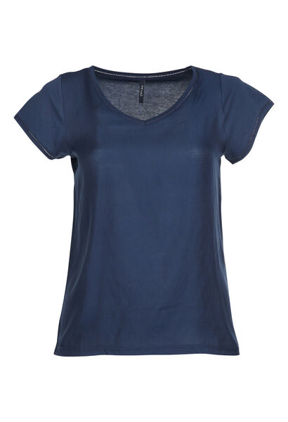 T-shirt van twee stoffen - Marineblauw