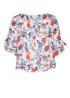 Bloes met elastische hals met bloemenprint, Multicolor