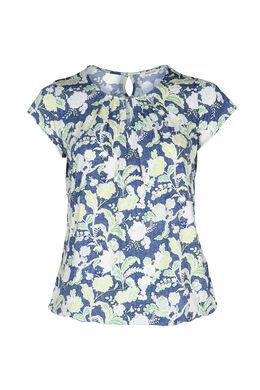 T-shirt in koel tricot met gomprint van bloemen en bladeren, Olijfgroen