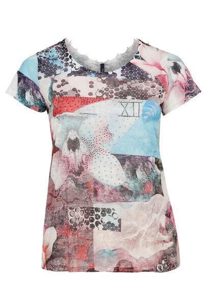 T-shirt van bedrukte stof en met kantwerk - Multicolor