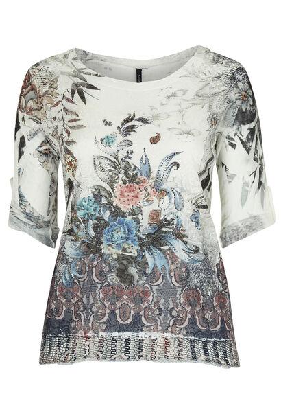 T-shirt 2-in-1 in bedrukt tricot  - Indigo