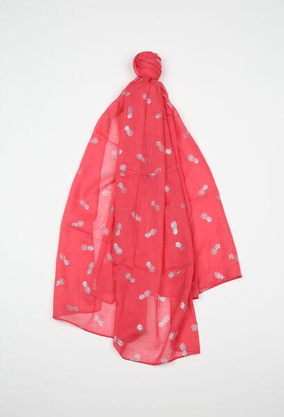 Sjaal met ananasprint - Koraal