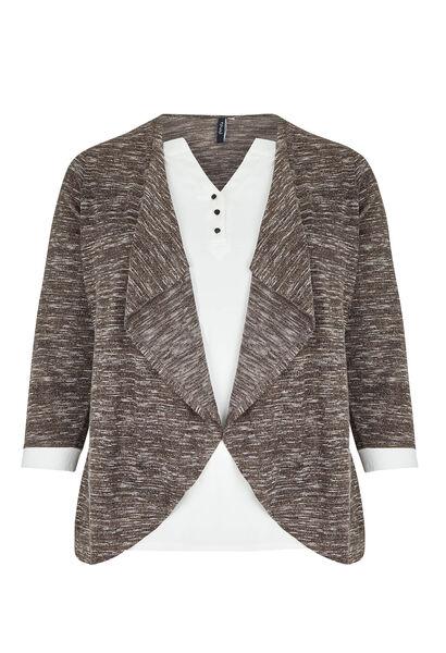 T-shirt 2-in-1 blouse en cardigan - Taupe