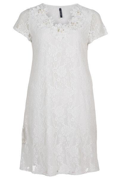 Kanten jurk met grote bloemen - Ecru