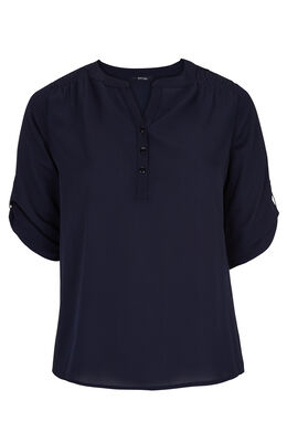 Shirt in effen voile, Marineblauw