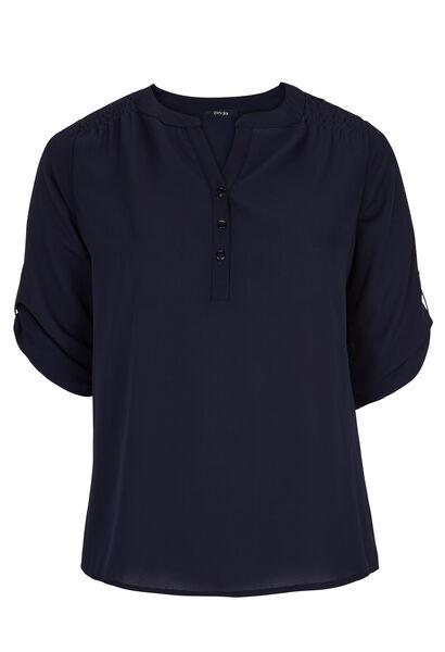 Shirt in effen voile - Marineblauw