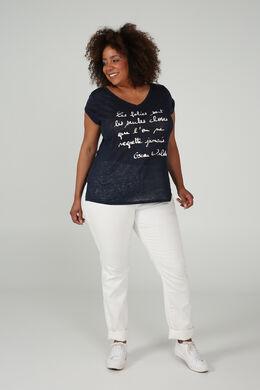 T-shirt met een boodschap, Marineblauw
