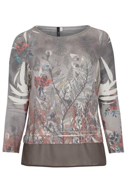 T-shirt van bedrukt lurex tricot - Grijs
