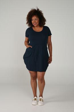 Halflange, effen jurk, Marineblauw