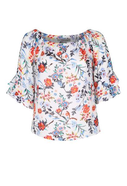 Bloes met elastische hals met bloemenprint - Multicolor