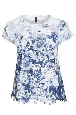 T-shirt imprimé fleuri et strass, Blanc