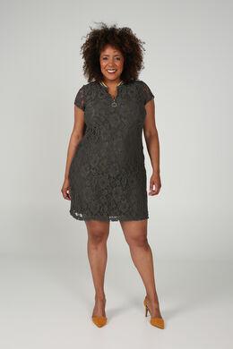Kanten jurk met een kraag van tricot, Kaki
