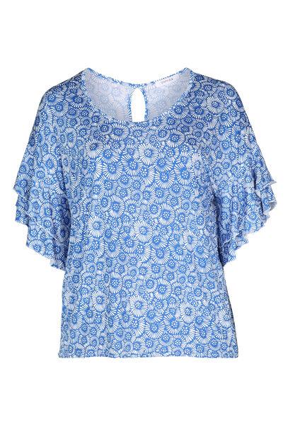 T-shirt met gomprint van rozetjes - Bic blauw