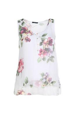 Mouwloze blouse van bedrukte zijde, Wit