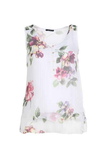 Mouwloze blouse van bedrukte zijde - Wit