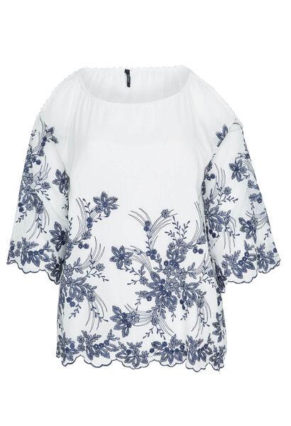 Blouse broderie fleurs épaules ouvertes - Blanc
