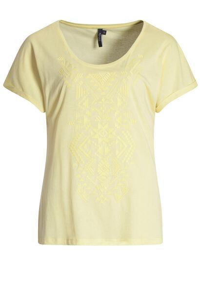 T-shirt met etnische print - Geel