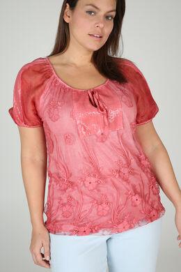 T-shirt in scheurtjestricot met strassteentjes, Oranje