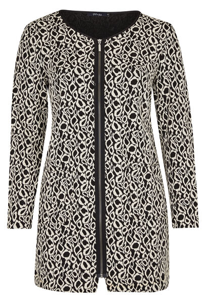 Lange jas van jacquardtricot - Zwart