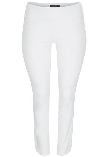 Slim fit broek met sierstiksels - Wit