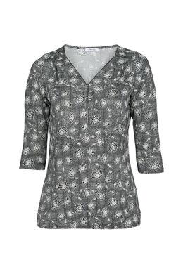 T-shirt met bloemetjesprint, Zwart