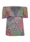 T-shirt met open schouders, Multicolor