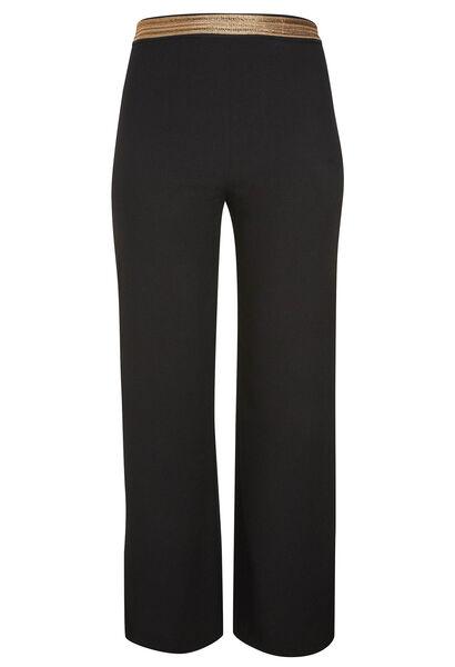 Pantalon ville en crêpe, ceinture fantaisie - Noir