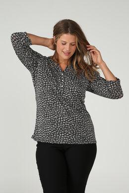 Bedrukte blouse met Tunesische hals, Zwart