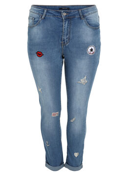 Jeans Nina met applicaties, Denim