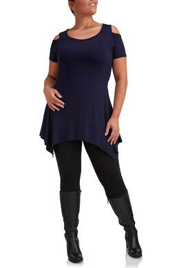 T-shirt met open schouders en asymmetrisch onderaan, Marineblauw