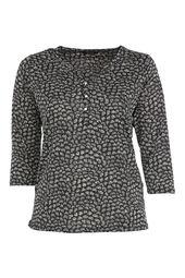 Bedrukte blouse met Tunesische hals