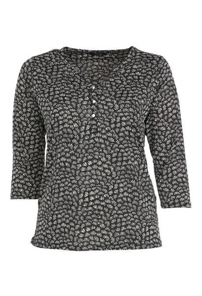 Bedrukte blouse met Tunesische hals - Zwart