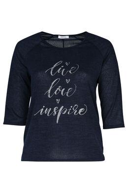 "T-shirt print ""Live, love, inspire"", Marine"