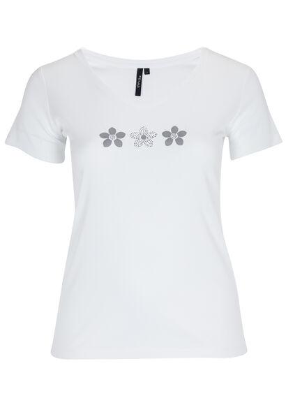 Katoenen T-shirt met madeliefjesprint - Wit