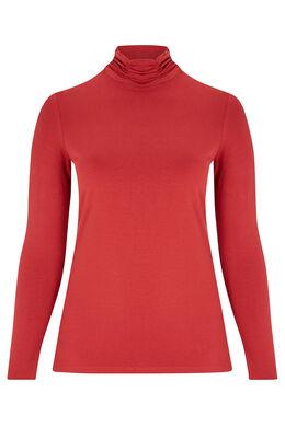 T-shirt col roulé coton bio basique, Tomate