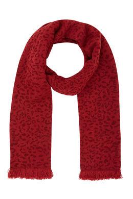 Sjaal met dierenhuidprint, Bordeaux