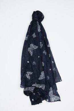 Sjaal met vlinderprint, Marineblauw