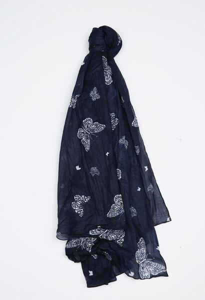 Sjaal met vlinderprint - Marineblauw