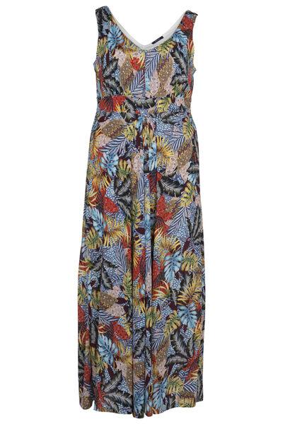 Lange jurk met bladerprint - Multicolor