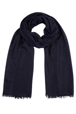 Effen sjaal met lurex, Marineblauw