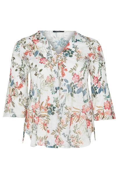 T-shirt van plooitjestricot met bloemenprint - Wit