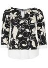 T-shirt van koel tricot met bloemenprint, Zwart