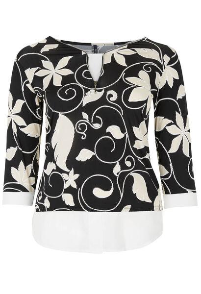 T-shirt van koel tricot met bloemenprint - Zwart