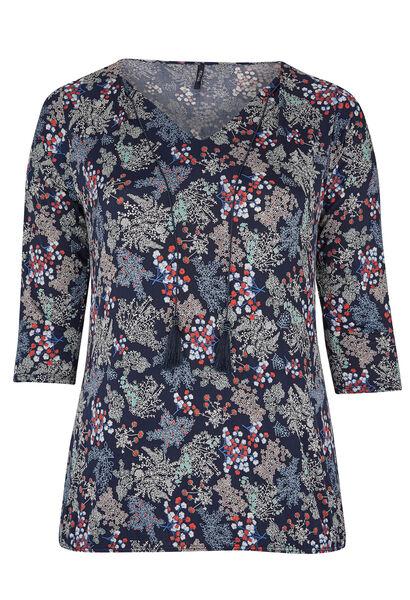 T-shirt van tricot met bloemetjesprint - Marineblauw