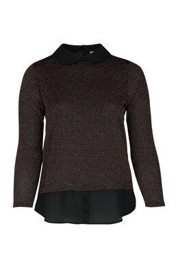 T-shirt 2-in-1 met trui-bloeseffect, Zwart