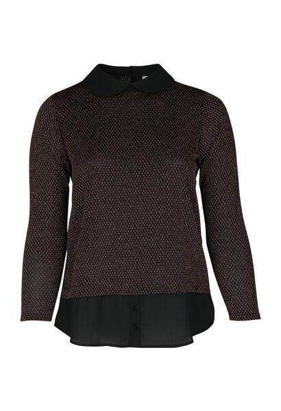 T-shirt 2-in-1 met trui-bloeseffect - Zwart