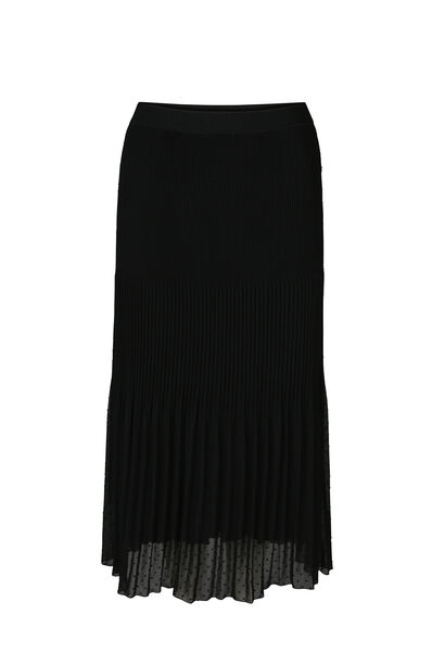 Lange rok met reliëfborduurwerk - Zwart