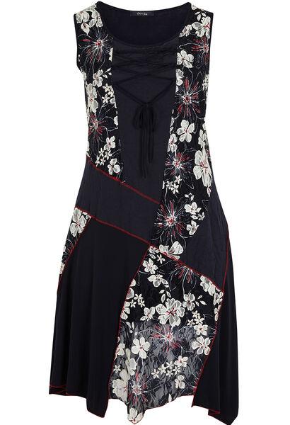 Lange jurk in materiaalmix met print - Marineblauw